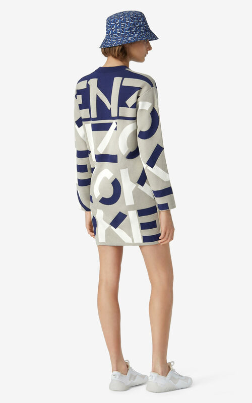 DOVE GREY KENZO Sport monogram jacquard dress for women