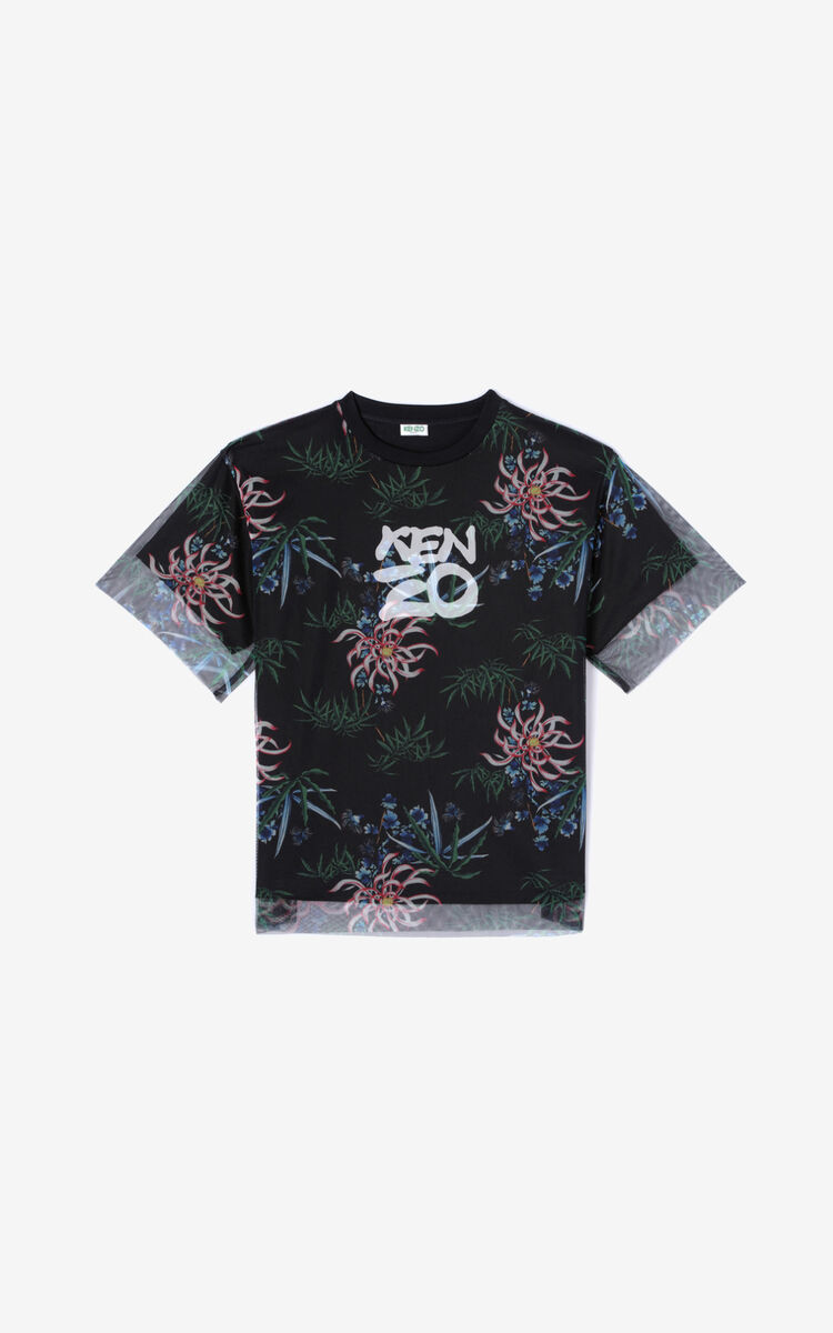 BLACK 'Sea Lily' dual-material T-shirt for women KENZO