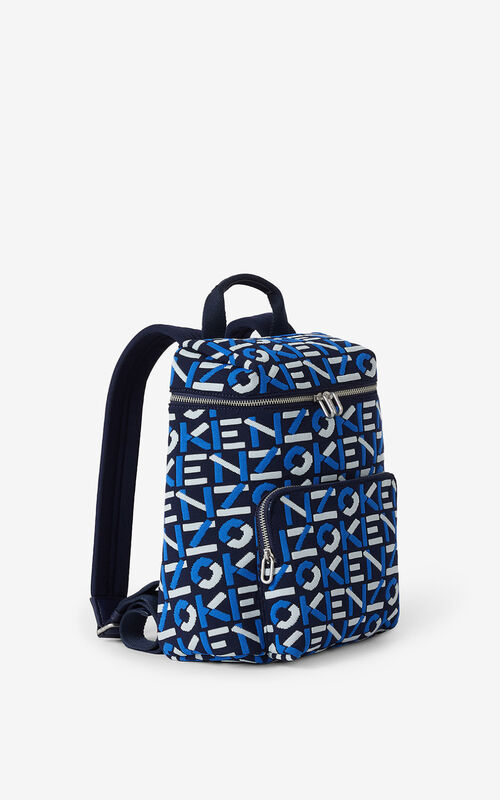MIDNIGHT BLUE Monogrammed jacquard backpack for unisex KENZO