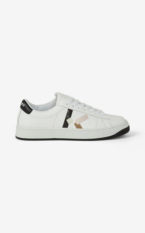 FADED PINK KENZO Kourt 'K Logo' leather trainers for women