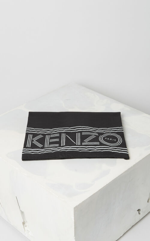 BLACK KENZO logo cotton scarf for unisex