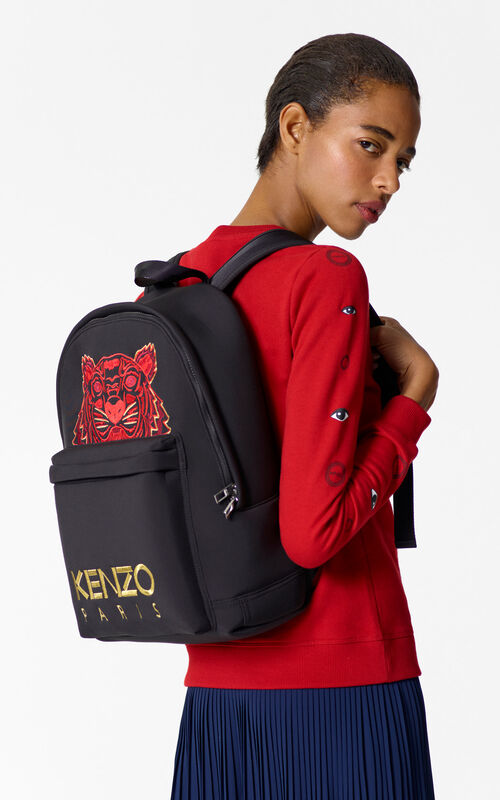 BLACK 'Chinese NY Capsule Collection' Large Tiger Neoprene Backpack for women KENZO