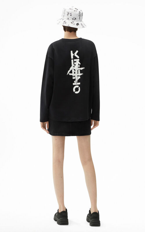 BLACK Ideogram' oversized T-shirt for women KENZO
