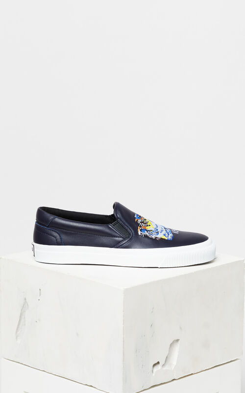 NAVY BLUE Tiger Head' Leather Slip-On Trainers 'Go Tigers Capsule' for unisex KENZO