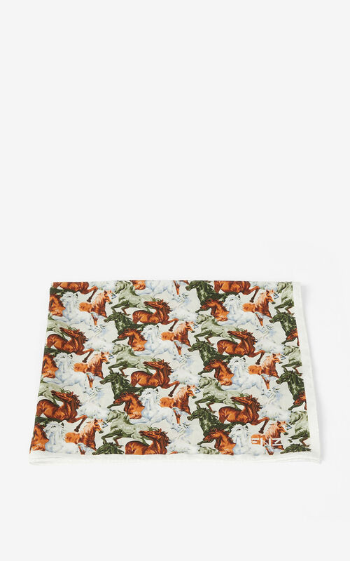 WHITE 'Chevaux KENZO' silk bandana for unisex