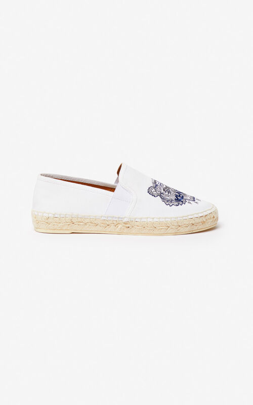 WHITE Tiger elasticated espadrilles for men KENZO