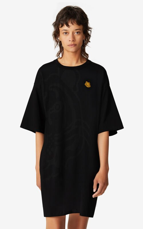 BLACK K-Tiger oversized T-shirt dress for women KENZO