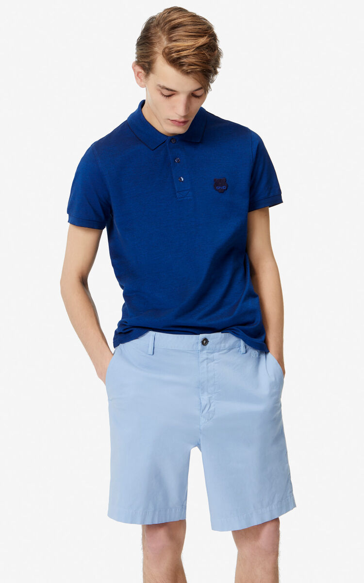 NAVY BLUE Fitted Tiger polo shirt for men KENZO