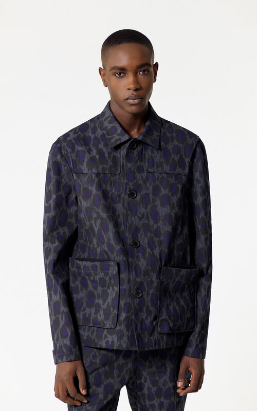 ANTHRACITE 'Leopard' jacket for men KENZO