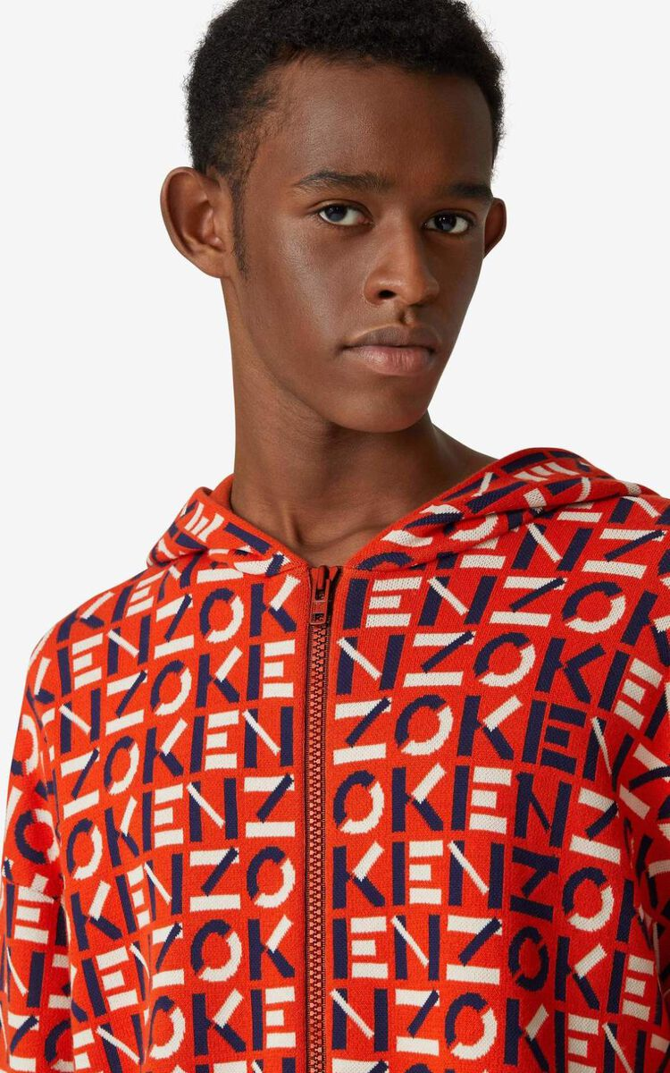 DEEP ORANGE KENZO Sport monogram jacquard jacket for men