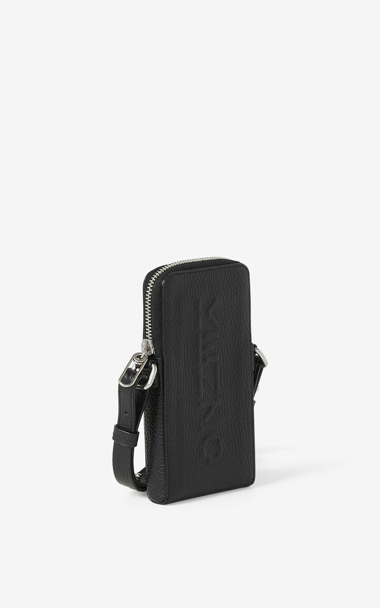 BLACK KENZO Imprint grained leather crossbody phone holder for unisex