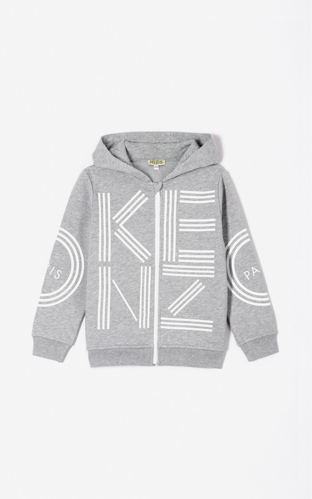 MIDDLE GREY KENZO Logo zipped sweatshirt for men