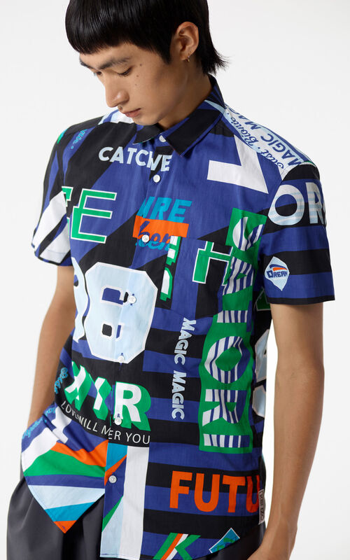 DEEP SEA BLUE 'Hyper KENZO' shirt for men