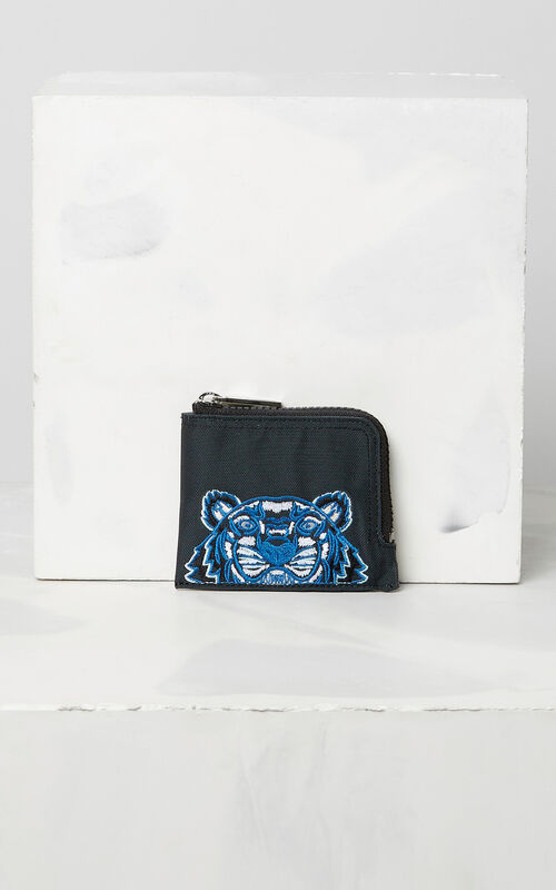 DARK GREY Zipped Tiger purse for men KENZO