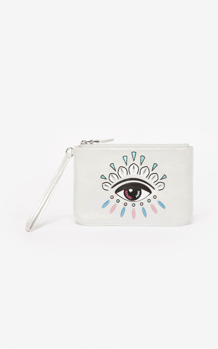 SILVER A5 Kontact Eye clutch for unisex KENZO