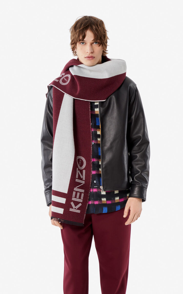 BORDEAUX KENZO Logo wool scarf for unisex
