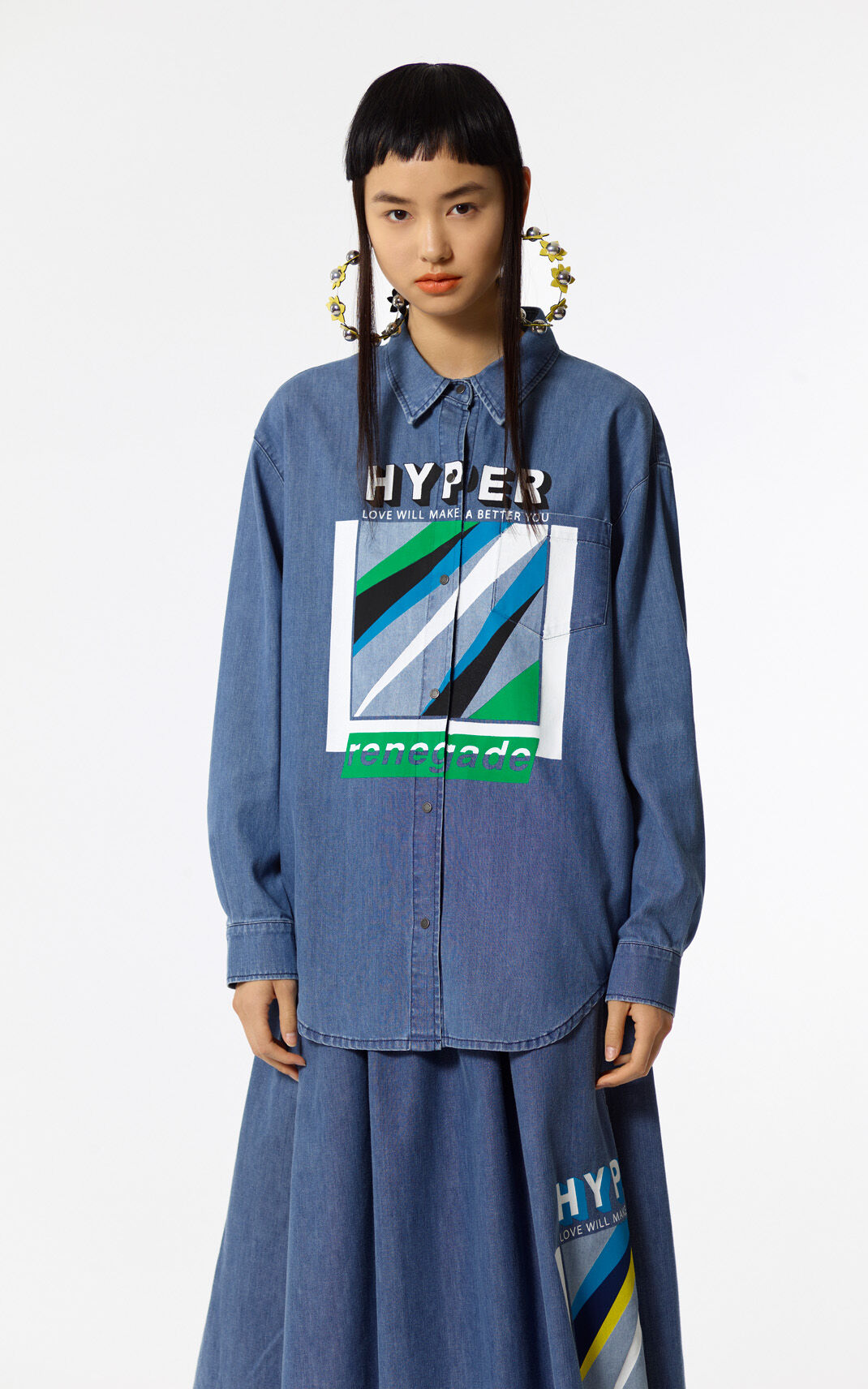 NAVY BLUE 'Hyper KENZO' Denim Shirt for women