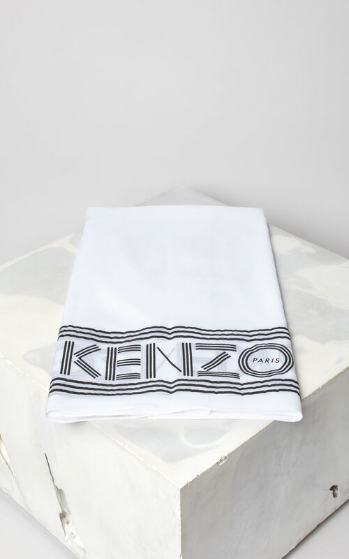 WHITE KENZO logo cotton scarf for unisex