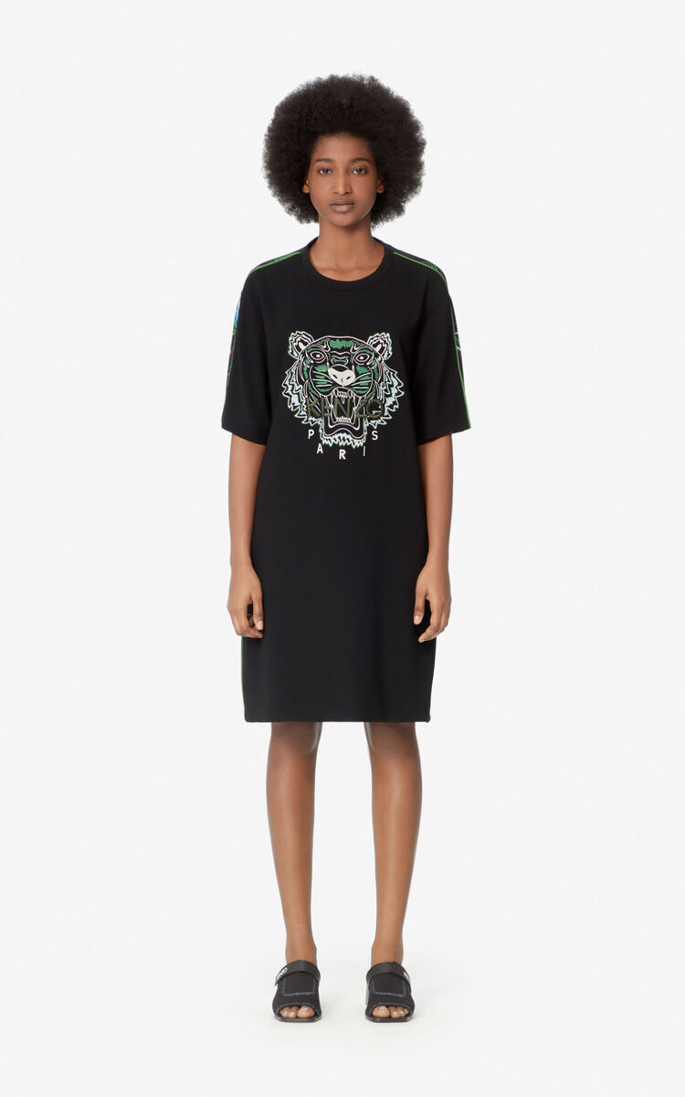 PISTACHE 'Sea Lily' Crepe Tiger dress  for women KENZO