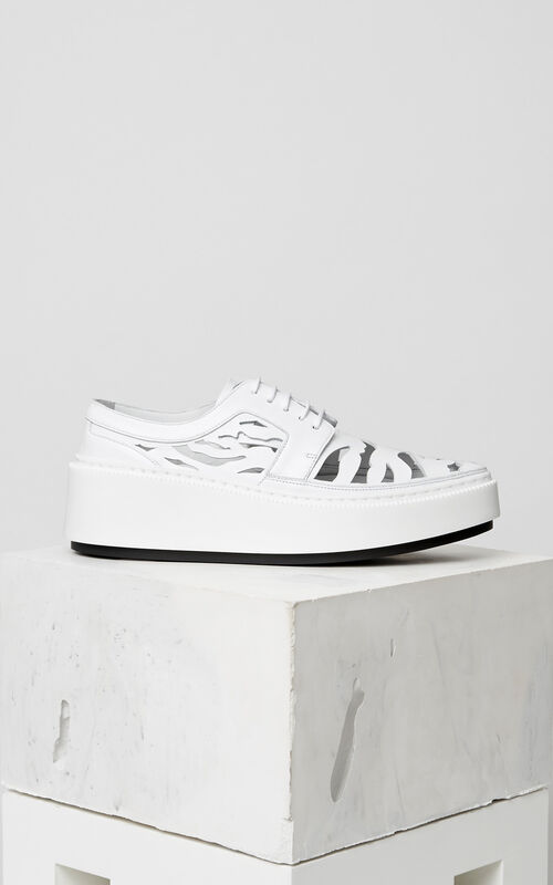 WHITE 'Tiger Stripes' Cut Out Sneakers KENZO