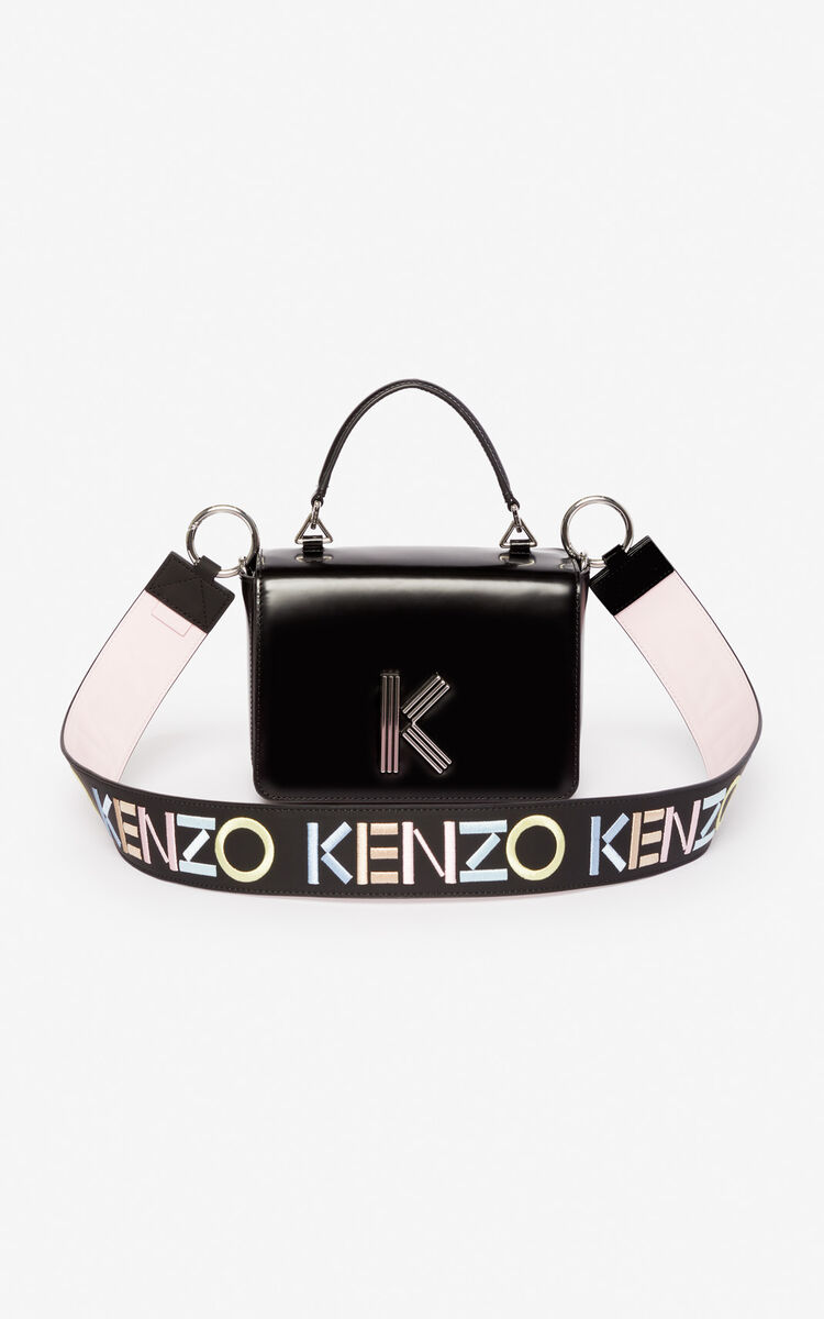 BLACK KENZO logo reversible leather shoulder strap for women