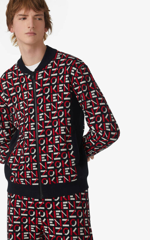 MEDIUM RED KENZO Sport jacquard monogram jacket for men