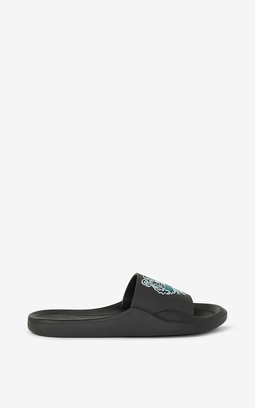 BLACK Pool Tiger flip flops for unisex KENZO