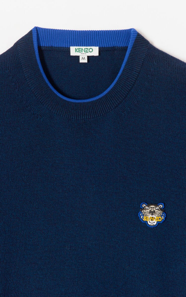 NAVY BLUE Tiger jumper for men KENZO