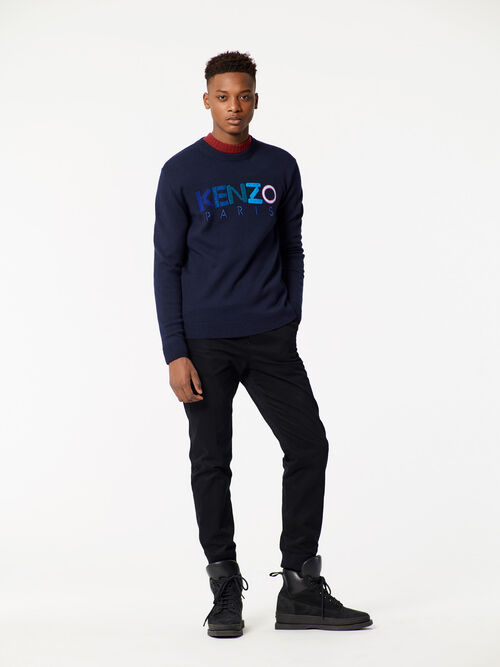 NAVY BLUE Knitted KENZO Sweater for men