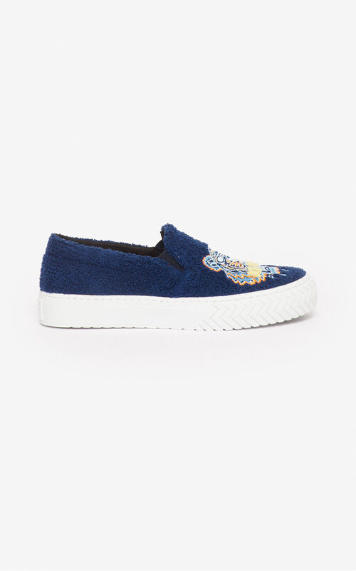 MIDNIGHT BLUE 'Tiger Towel' K-Skate slip-ons for unisex KENZO
