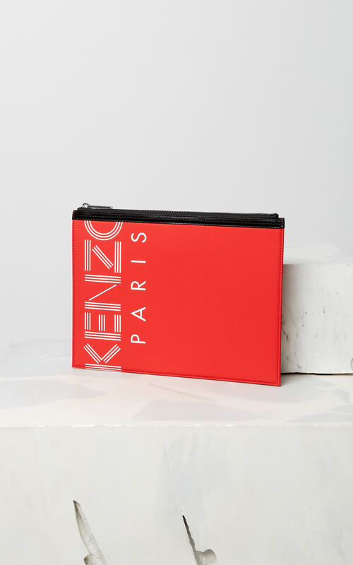 MEDIUM RED A4 KENZO Logo clutch for men