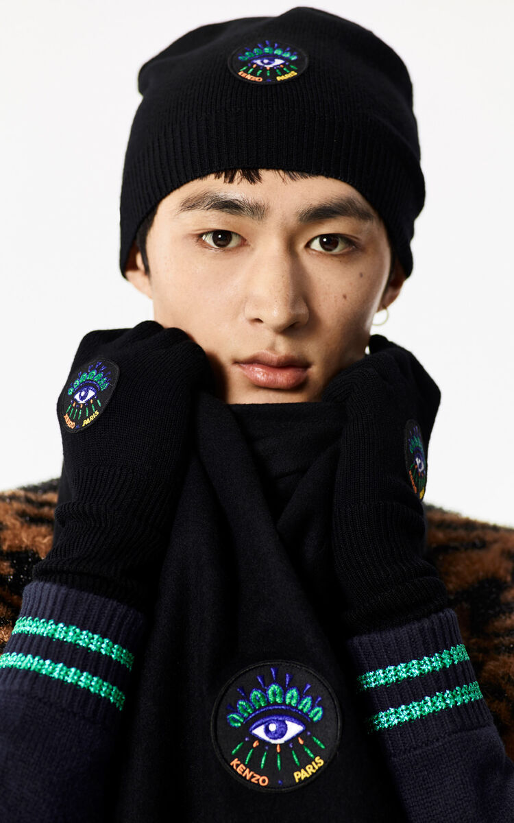 BLACK 'Holiday Capsule Collection' woolly Eye scarf for unisex KENZO