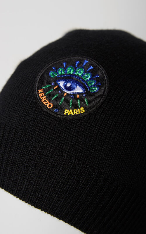 BLACK 'Holiday Capsule Collection' woolly Eye hat for unisex KENZO