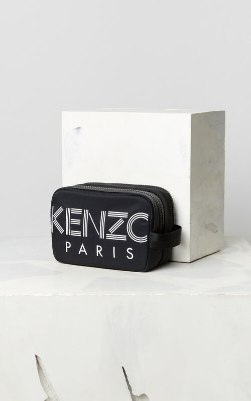 BLACK KENZO Logo Travel Bag for men