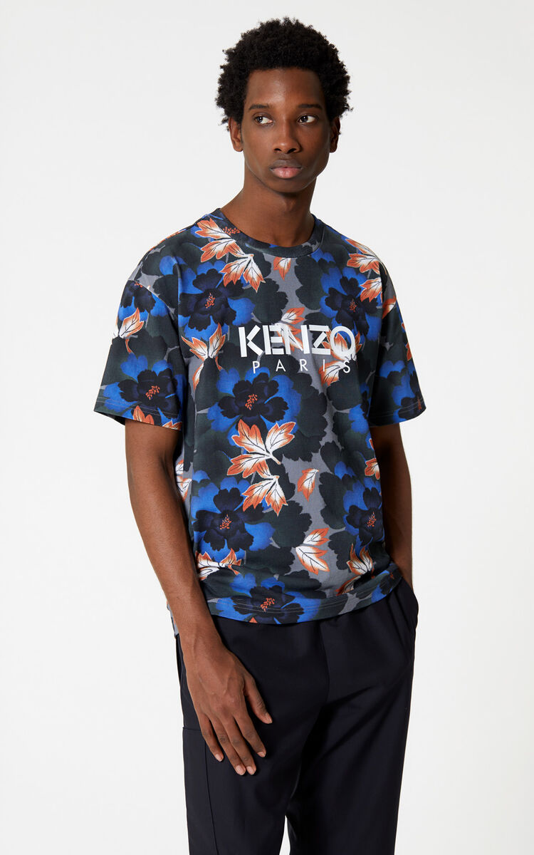 ANTHRACITE 'Indonesian Flower' KENZO Paris t-shirt for men
