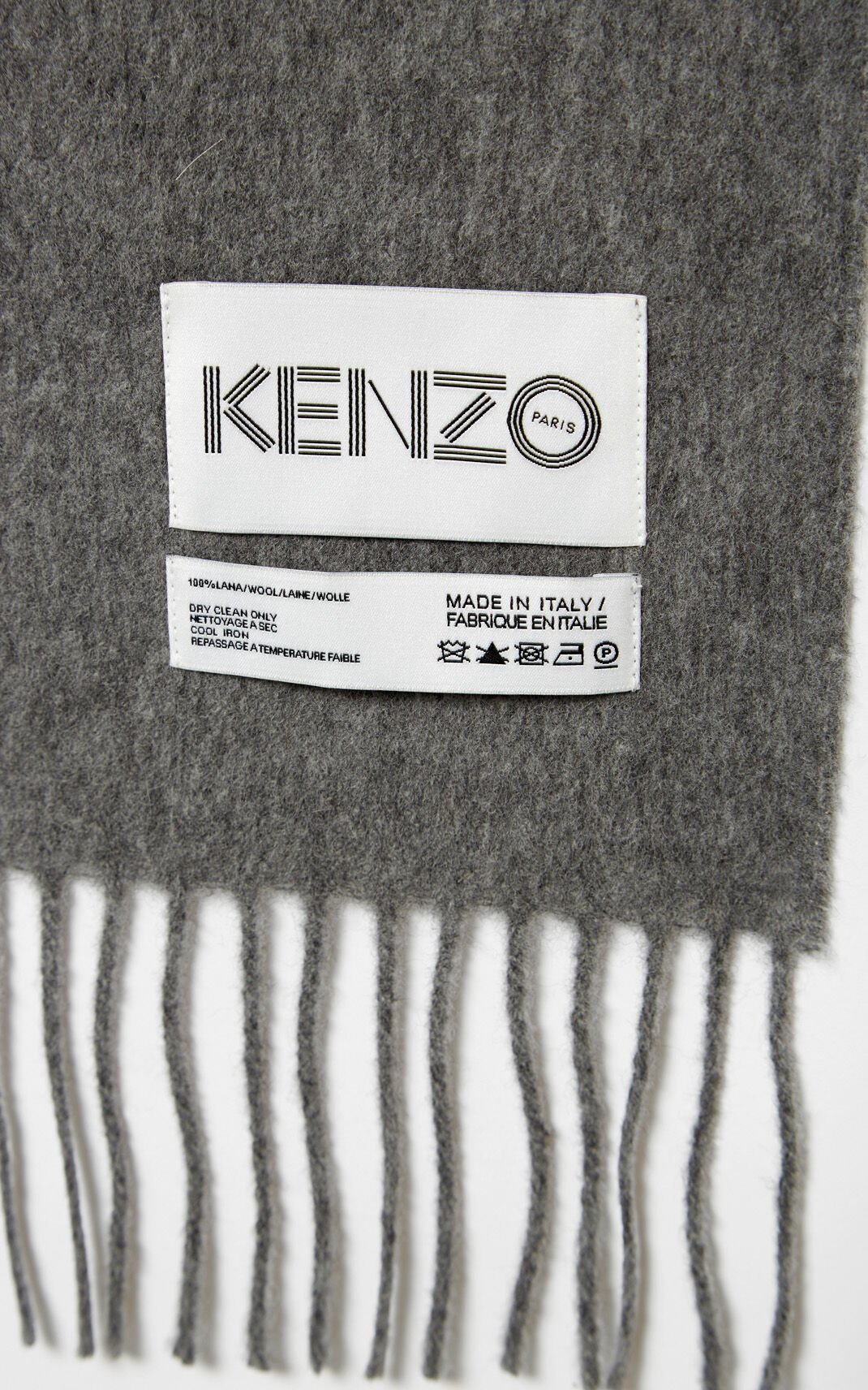 PALE GREY KENZO Label wool Scarf for unisex