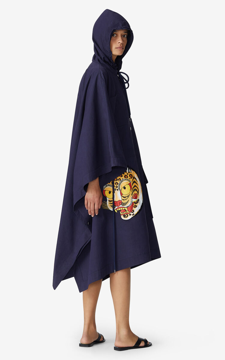 NAVY BLUE KENZO x KANSAIYAMAMOTO long cape for women