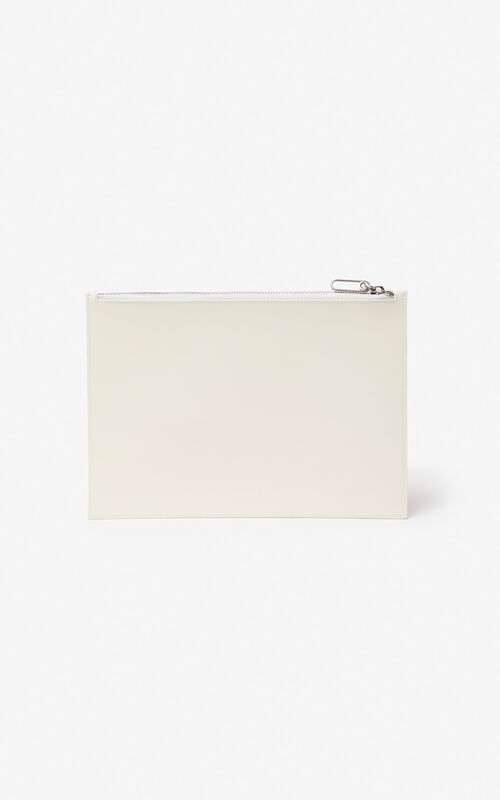 WHITE A4 'Square Logo' leather clutch for unisex KENZO