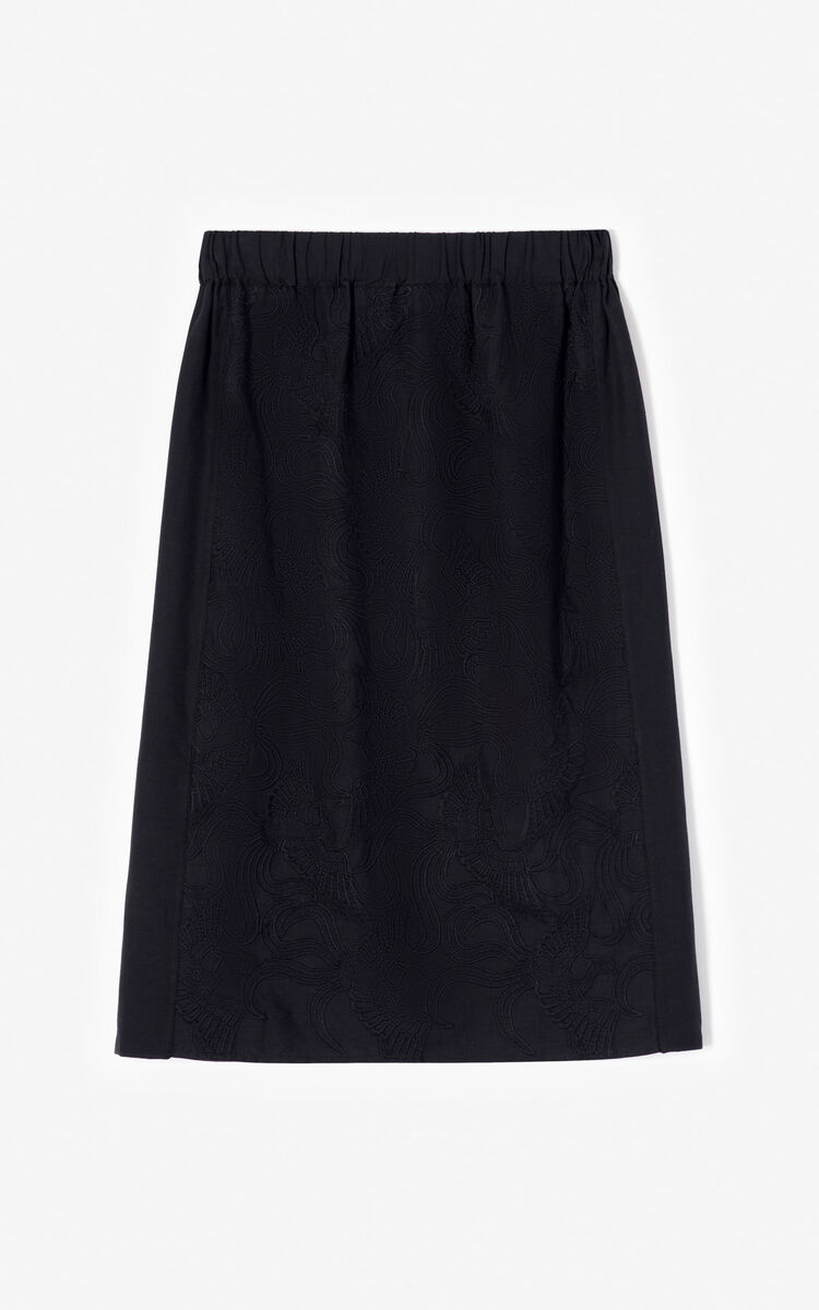 BLACK 'Flying Phoenix' midi skirt for women KENZO