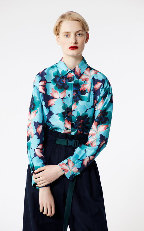 cd417fc7 NAVY BLUE 'Indonesian Flower' silk shirt for women KENZO ...