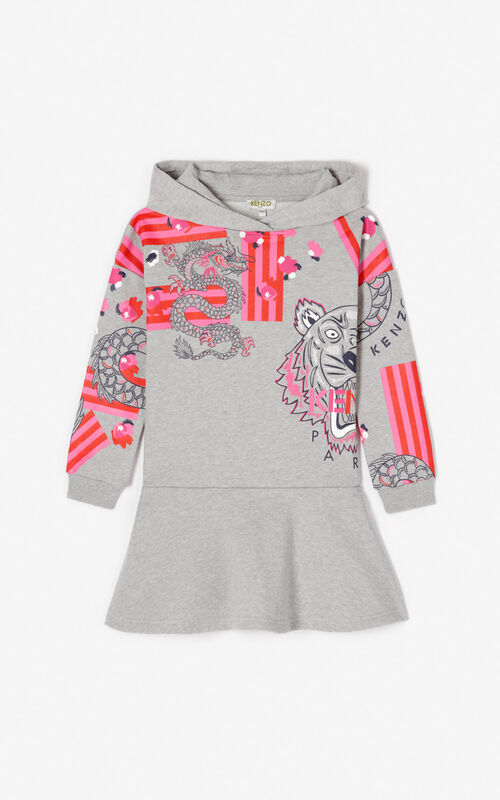 MIDDLE GREY Multi-icon 'Japanese Flower' sweatshirt dress for women KENZO