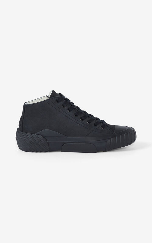 BLACK Tiger Crest nubuck high-top trainers for unisex KENZO