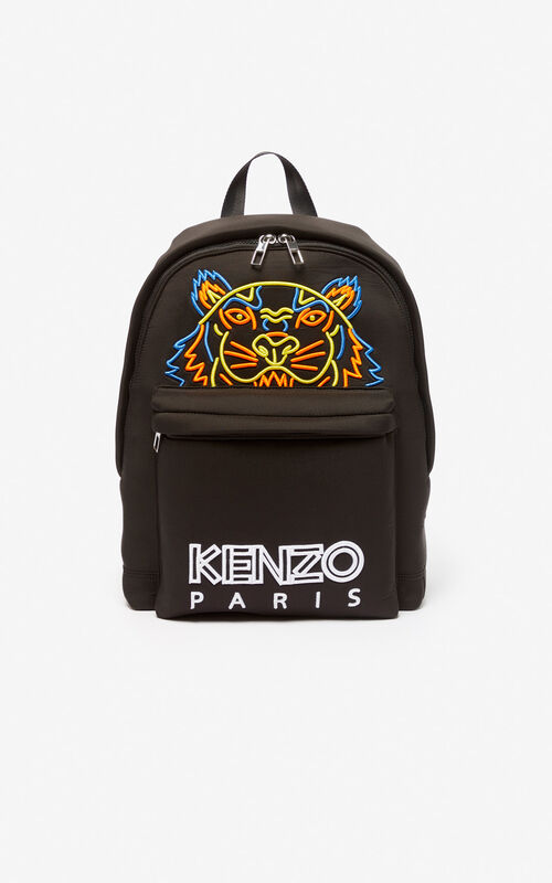 BLACK Large Tiger backpack in neoprene for unisex KENZO