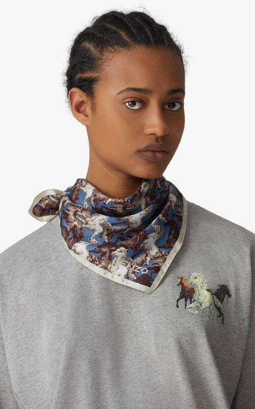 BLUE 'Chevaux KENZO' silk bandana for men