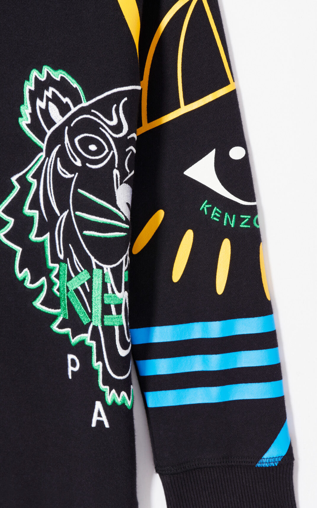 BLACK 'Cosmic' multi-icons sweatshirt for men KENZO