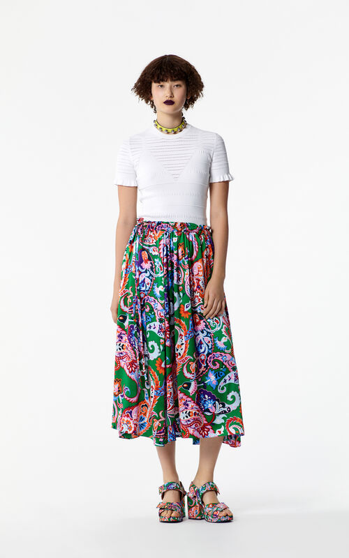 GRASS GREEN Paisley print silk skirt for women KENZO