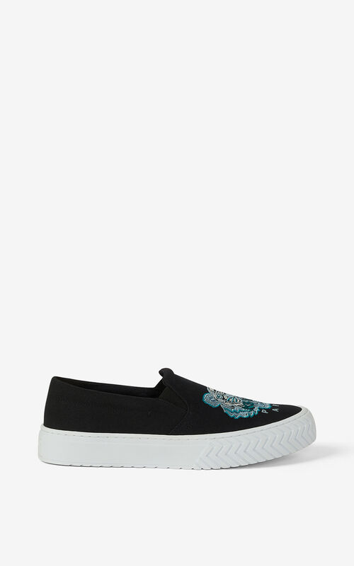 BLACK Canvas slip-on K-Skate Tiger trainers for unisex KENZO