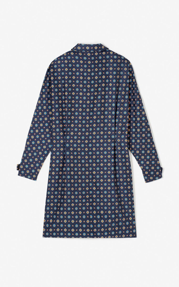 MIDNIGHT BLUE 'Médaillons' trench coat for women KENZO