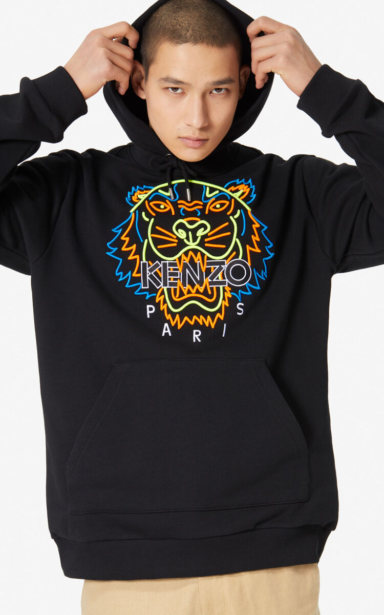 BLACK Hoodie sweatshirt with neon Tiger for men KENZO