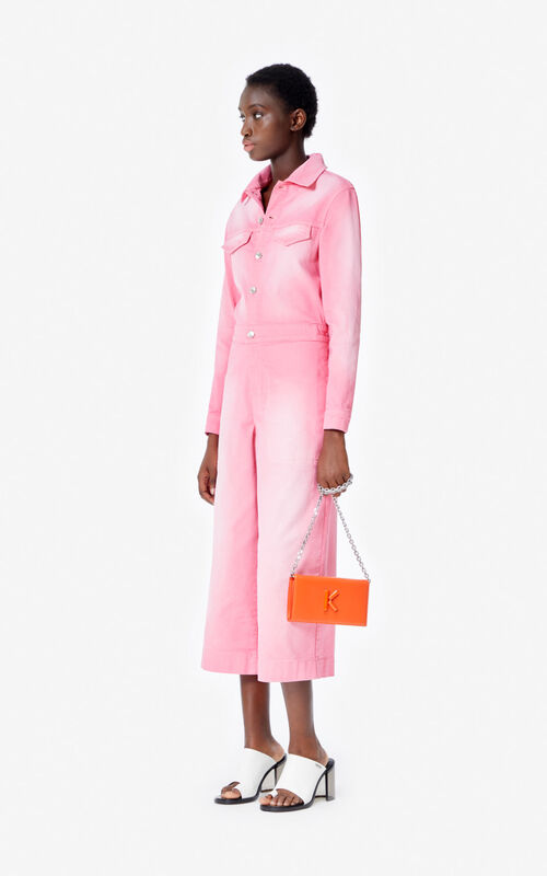 FLAMINGO PINK Denim jumpsuit for women KENZO